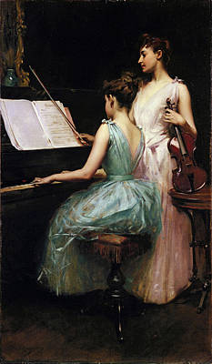 Painting - The Sonata by Irving Ramsay Wiles