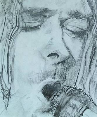 Rock And Roll Drawing - The Song Man by Ella Wens