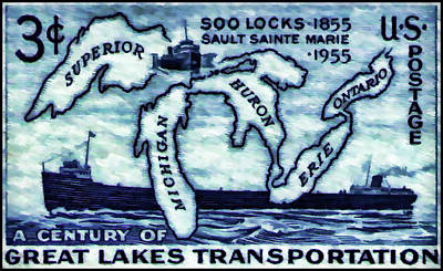 The Soo Locks Stamp Art Print