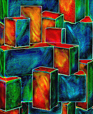 Digital Art - The Sorcerers Cosmic Boxes by Michele Avanti
