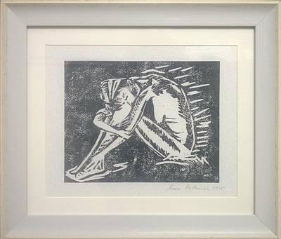 Linoprint Drawing - The Sorrow by Anna Potanina