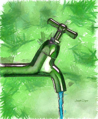 Faucet Digital Art - The Source - Da by Leonardo Digenio