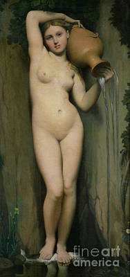 Female Figure Painting - The Source by Ingres