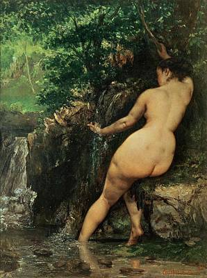 Running Painting - The Source Or Bather At The Source by Gustave Courbet