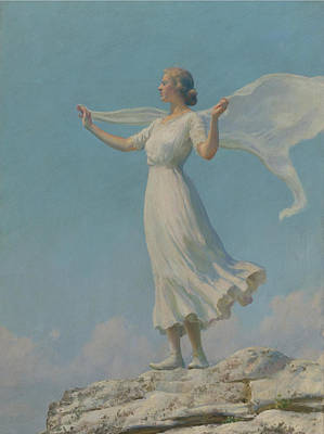 Woman Painting - The South Wind by Charles Courtney