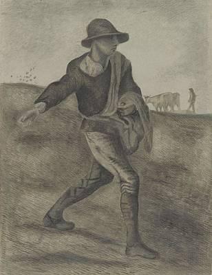 Painting - The Sower After Millet Etten, April 1881 Vincent Van Gogh 1853  1890 by Artistic Panda