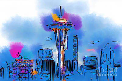 Digital Art - The Space Needle In Soft Abstract by Kirt Tisdale