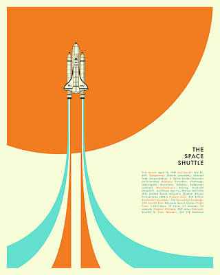 Space Ships Digital Art - The Space Shuttle by Jazzberry Blue