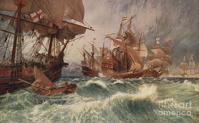 Pirate Ship Painting - The Spanish Armada by English School