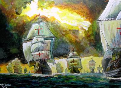 Painting - The Spanish Armada by Mike Benton