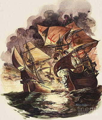 Water Vessels Painting - The Spanish Armada by Peter Jackson