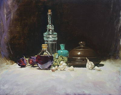 Wine Reflection Art Painting - The Spanish Bottle by Roger Clark