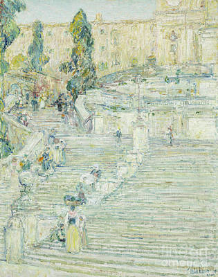 Tourist Attraction Painting - The Spanish Stairs, Rome, 1897 by Childe Hassam