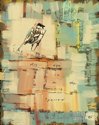 Country Cottage Mixed Media - The Sparrow by Carrie Joy Byrnes