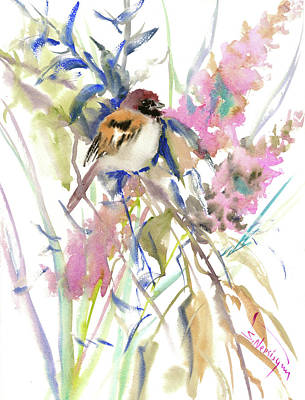 Sparrow Drawing - The Sparrow In The Garden by Suren Nersisyan