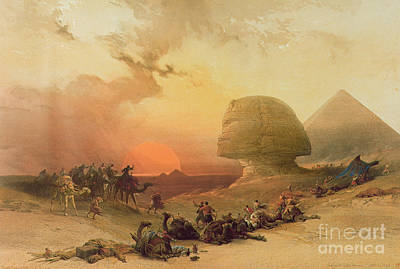 Sunset Painting - The Sphinx At Giza by David Roberts