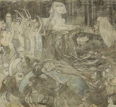Drawing - The Sphinx by Jan Toorop