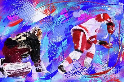 Hockey Painting - The Spin Todd Bertuzzi by Donald Pavlica