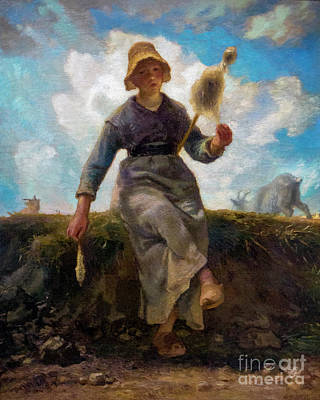 The Spinner, Goatherd Of The Auvergne, La Fileuse, Chevre Auverg Art Print