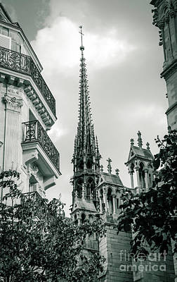 Hunchback Of Notre Dame Photograph - The Spire Of Notre Dame De Paris Black And White by Marina McLain