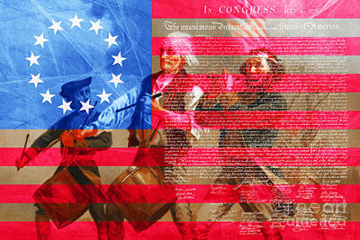 The Spirit Of 76 The American Flag And The Declaration Of Independence 20150704 Art Print by Wingsdomain Art and Photography