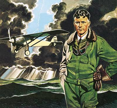 Aviator Painting - The Spirit Of St Louis by Ron Embleton
