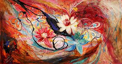 Oriental Style Painting - The Splash Of Life 18. Lotuses by Elena Kotliarker