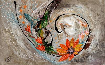 Oriental Style Painting - The Splash Of Life 25 by Elena Kotliarker