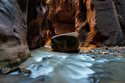 Photograph - The Split Rock - Virgin River Narrows by Expressive Landscapes Fine Art Photography by Thom