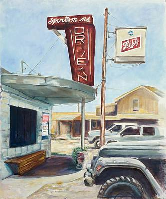 Arkansas Painting - The Sportsman's Drive-in by Tansill Stough
