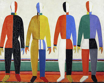 Suprematism Painting - The Sportsmen by Kazimir Malevich