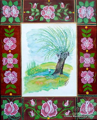 Meadow Willows Painting - The Spring by Anna Folkartanna Maciejewska-Dyba