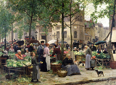 Stalls Painting - The Square In Front Of Les Halles by Victor Gabriel Gilbert