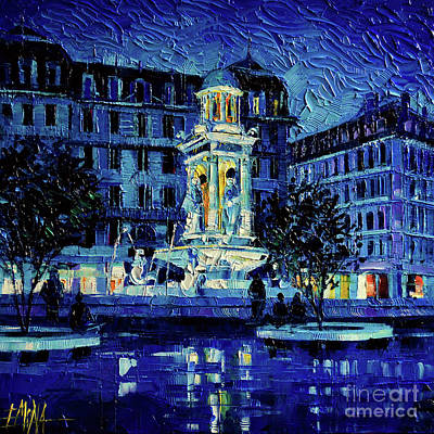 Painting - The Square Of Jacobins Illuminated - Lyon France - Modern Impressionist Palette Knife Painting by Mona Edulesco