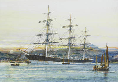Oil Rig Painting - The Square-rigged Australian Clipper Old Kensington Lying On Her Mooring by Jack Spurling