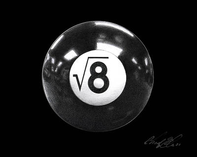 Game Lights Drawing - The Square Root Of 8 Ball 2 by Chad Glass