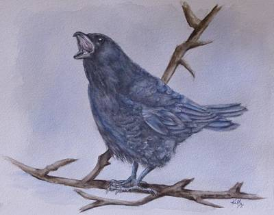 Painting - The Squawking Crow by Kelly Mills