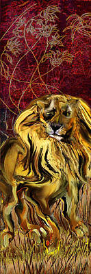 The Squinting Lion Art Print by Anne Weirich
