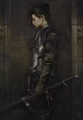 Warrioress Painting - The Squire by Eve Ventrue