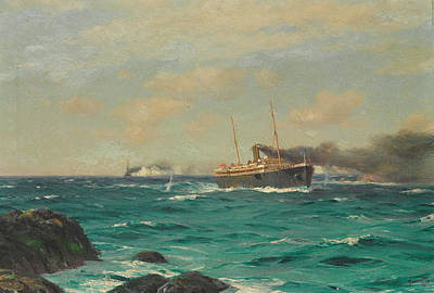 Dresden Wall Art - Painting - The S.s. Ortega Entering The Straits Of Nelson With The S.m.s. Dresden In Pursuit by Thomas Jacques Somerscales