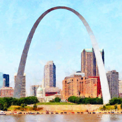 Photograph - The St Louis Gateway Arch And The St Louis Skyline 20180508 Square by Wingsdomain Art and Photography