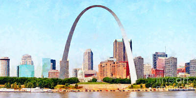 Photograph - The St Louis Gateway Arch And The St Louis Skyline 20180508 by Wingsdomain Art and Photography