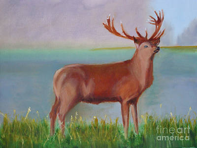 The Stag Art Print by Rod Jellison
