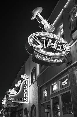 Photograph - The Stage On Broadway In Black And White - Nashville by Gregory Ballos