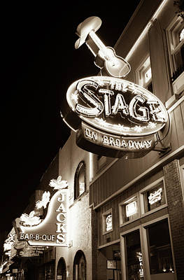 Photograph - The Stage On Broadway In Sepia - Nashville by Gregory Ballos