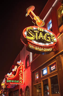 Photograph - The Stage On Broadway - Nashville by Gregory Ballos