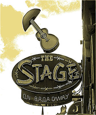 Sepia Ink Digital Art - The Stage On Broadway Sign In Sepia Tones by Marian Bell