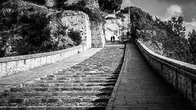 The Stairs - Paola, Italy - Black And White Street Photography Art Print by Giuseppe Milo