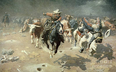 Bucking Bull Painting - The Stampede, 1912 by William Robinson Leigh