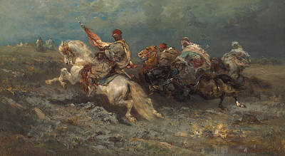 The Horse Painting - The Stampede by Adolf Schreyer